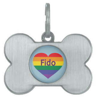 Rainbow pride heart pet tag