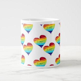 Rainbow Pride Hearts - Your Choice Love or Pride Large Coffee Mug