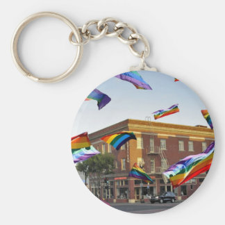 Rainbow Pride Over South San Francisco Basic Round Button Key Ring