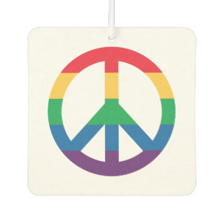 Rainbow Pride Peace Sign Car Air Freshener