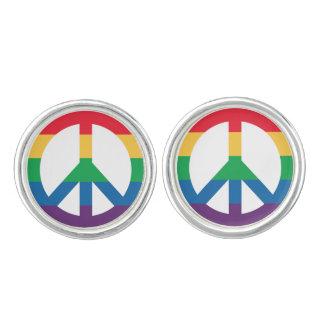 Rainbow Pride Peace Sign Cufflinks