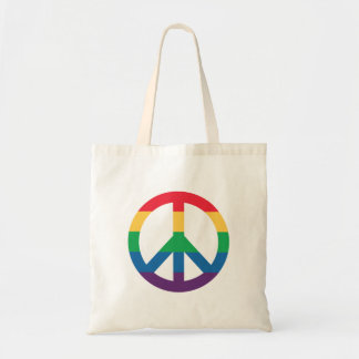 Rainbow Pride Peace Sign Tote Bag