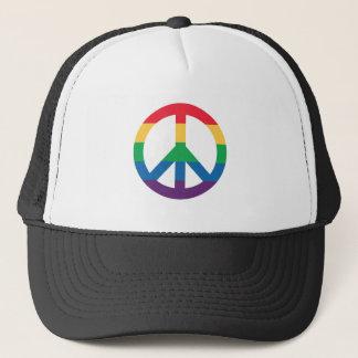 Rainbow Pride Peace Sign Trucker Hat