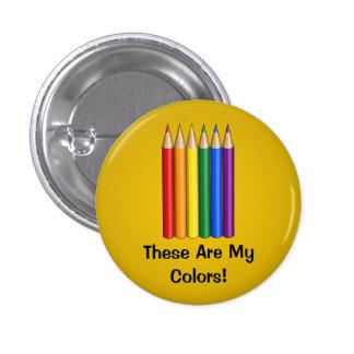 Rainbow pride pencils Button Pinback Buttons