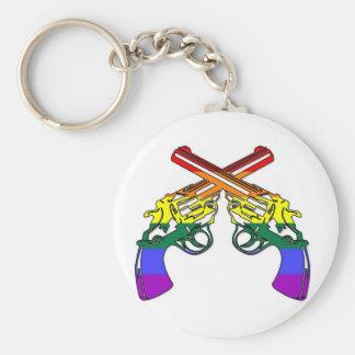 Rainbow Pride Pistols Basic Round Button Key Ring