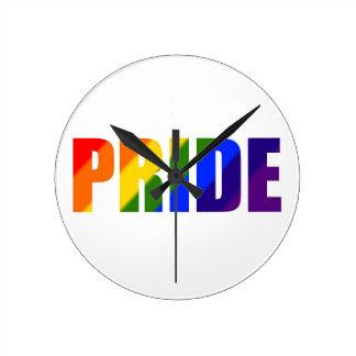 rainbow pride round wall clock