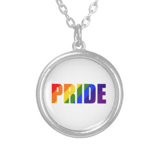 rainbow pride silver plated pendant necklace