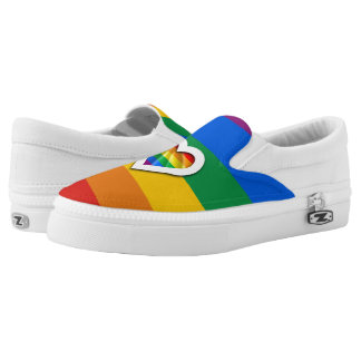 RAINBOW PRIDE STRIPES DESIGN -.png Slip On Shoes