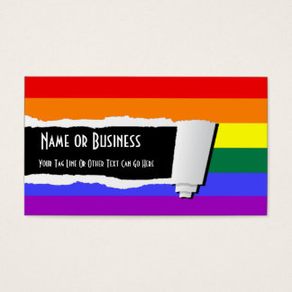 Rainbow Pride Torn Paper (Effect) Business Card