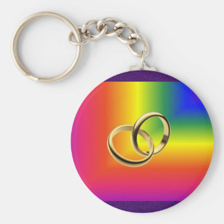 Rainbow Pride with Gold Wedding Bands Basic Round Button Key Ring