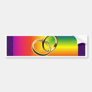 Rainbow Pride with Gold Wedding Bands Bumper Sticker