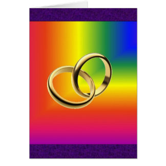 Rainbow Pride with Gold Wedding Bands Card