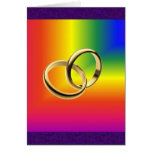 Rainbow Pride with Gold Wedding Bands Greeting Card