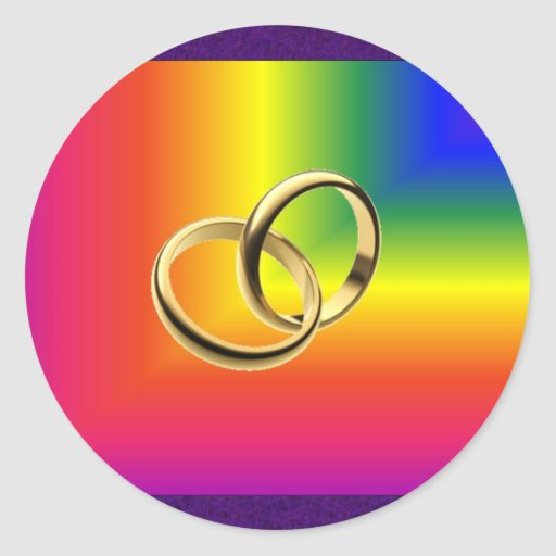Rainbow Pride with Gold Wedding Bands Round Stickers