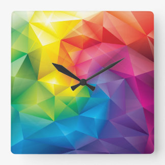 Rainbow Prism Square Wall Clock