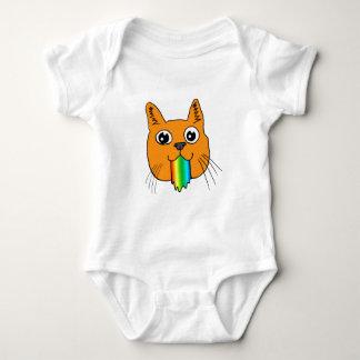 Rainbow Puke Cat Cartoon Hand-drawn Baby Bodysuit