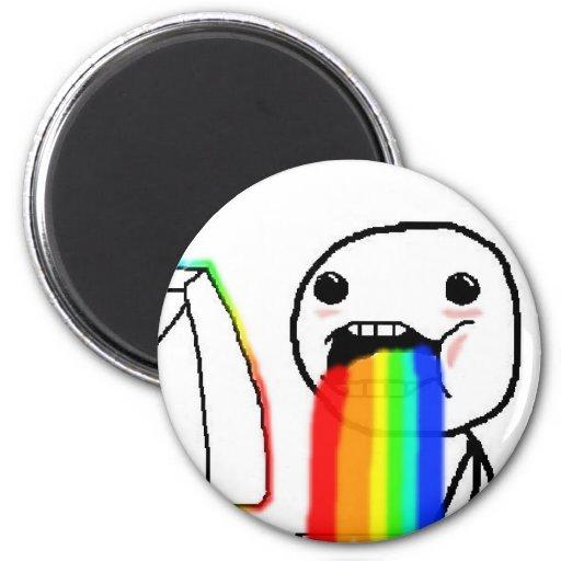 Rainbow Puke Comic Face Magnet