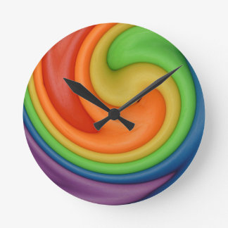Rainbow Putty Swirl Candy Colors Round Clock