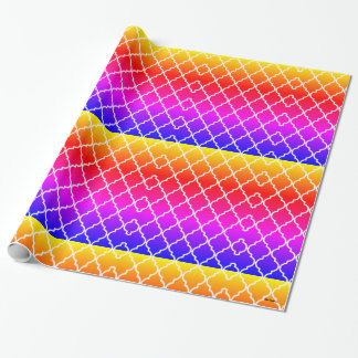 Rainbow Quatrefoil Pattern Wrapping Paper