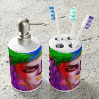 Rainbow queen of the moon bathroom set