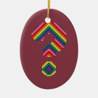 Rainbow Question Mark Ceramic Oval Decoration