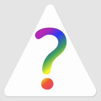 Rainbow question mark triangle sticker
