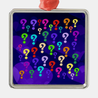 Rainbow Question Marks Silver-Colored Square Decoration