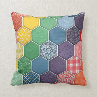 Rainbow Quilted Hexagon Cushion