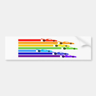 Rainbow Racers Bumper Sticker