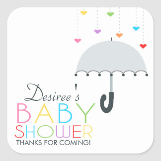 Rainbow Raindrops Gray Umbrella Baby Shower Square Sticker