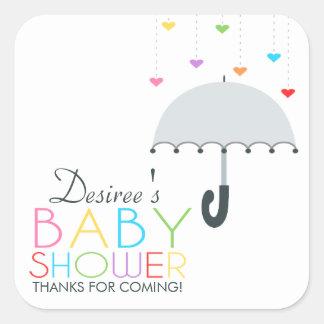 Rainbow Raindrops Gray Umbrella Baby Shower Sticker