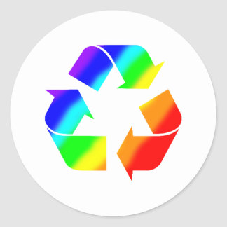 Rainbow Recycle Sign Classic Round Sticker