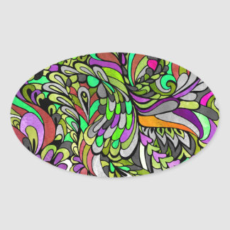 Rainbow Red Green Yellow Purple Peacock Bright Art Oval Sticker