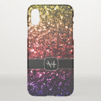 Rainbow red purple sparkles Monogram Uncommon iPhone X Case
