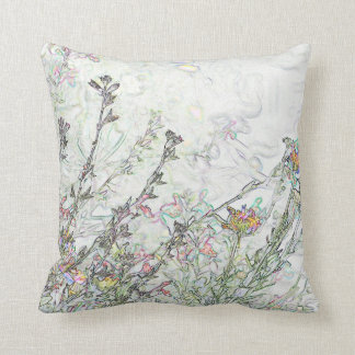 Rainbow Red Sage Plant Floral Multi-color Throw Cushion