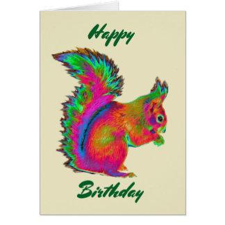 Rainbow Red Squirrel. Happy Birthday. Card