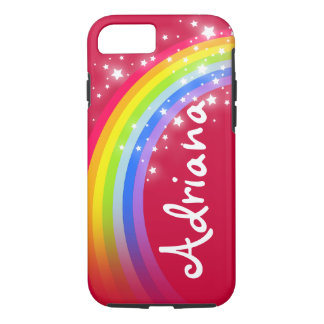 Rainbow red stars sky personalized iphone case