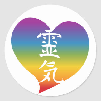 Rainbow Reiki Heart Classic Round Sticker