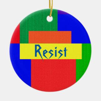 Rainbow Resist Patchwork Quilt Design Ornament