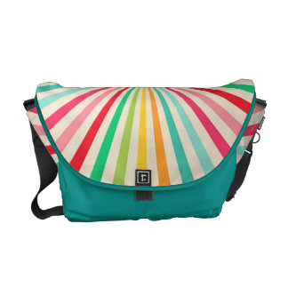 Rainbow Retro Colorful Abstract Art Messenger Bags