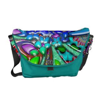 Rainbow Retro Funky Flowers Messenger Bags