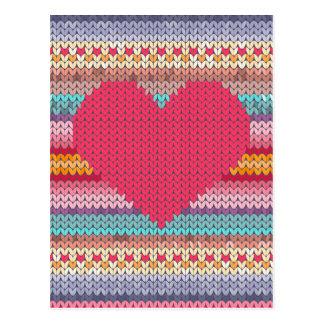 Rainbow retro hearts faux woollen knit valentine postcard