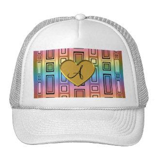 Rainbow retro squares monogram trucker hat