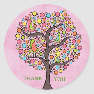 Rainbow Retro Tree Thank You Label Sticker