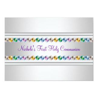 Rainbow Rhinestones Purple White Girl First Commun 13 Cm X 18 Cm Invitation Card