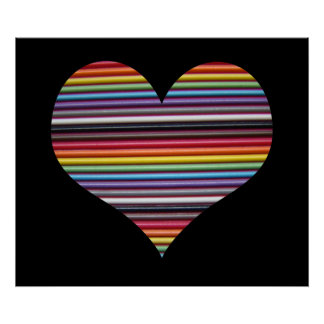 Rainbow Ribbon Cable Heart Wall Poster