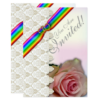 Rainbow Ribbon Double Hearts  Wedding Invitation 5