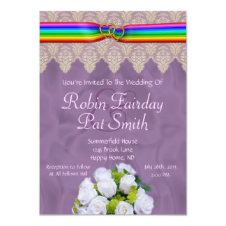 Rainbow Ribbon Double Hearts Wedding Invite 15B
