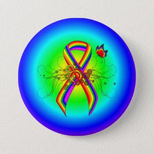 Rainbow Ribbon Badges & Pins | Zazzle UK