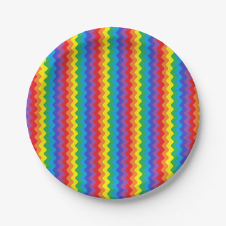 Rainbow Rickrack Paper Plates 7 Inch Paper Plate
